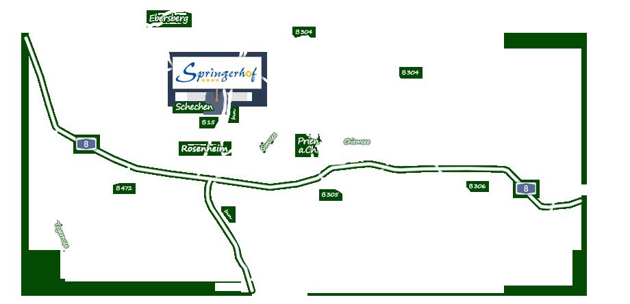 Karte Anfahrt Springerhof Schechen